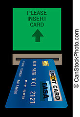 Instant cash - Illustration of a credit card in a cash...