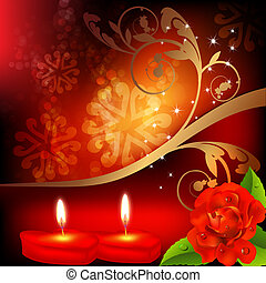 Valentine background. Red roses and two heart candles.