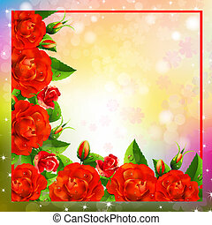 Valentine background with roses - Valentine background with...