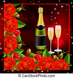 Valentine background Red roses with champagne