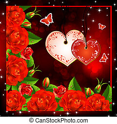Valentine background. Red roses with hearts and butterflies