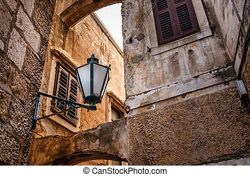 Street Lamp in the Narrow Street of Omis, Croatia