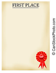 Parchment paper with 1st Place award - Illustration of...