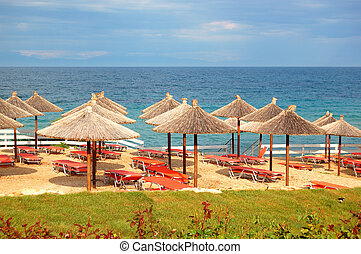 Beach at the modern luxury hotel, Halkidiki, Greece