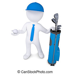 3d white man holding a golf ball - 3d white man with a bag...