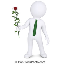 3d man holding a white rose Isolated render on a white...