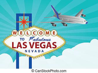 las vegas  - illustration of las vegas signal with airplane