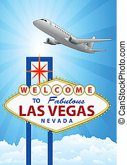 las vegas - illustration of las vegas signal with airplane