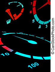 Car dash in black - Assortment of car gauges showing RPM...