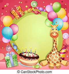 Birthday card with birthday cake, balloons and gifts
