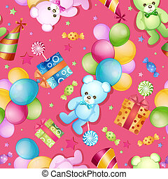 Seamless pattern for birthdays with balloons and teddy bears