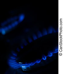 Blue light - Blue flames on a domestic gas cooker hob