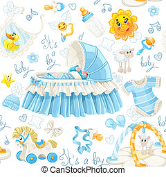 Seamless pattern of cribs and toys - Seamless pattern of...
