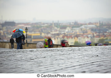 Rain - Wet street in rain, Prague, Czech Republic -...