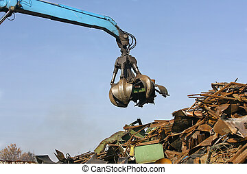 Loads of metal waste on the junkyard , to be recycled