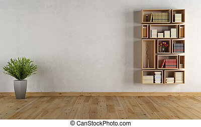 Empty interior with wall bookcase - Empty interior with...
