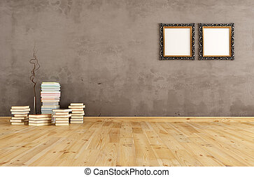Empty interior with books on a wooden floor
