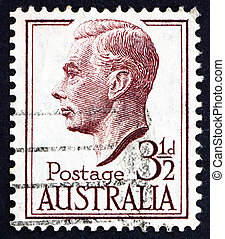 AUSTRALIA - CIRCA 1951: a stamp printed in the Australia shows George VI, King of the United Kingdom and the Dominions of the British Commonwealth, circa 1951