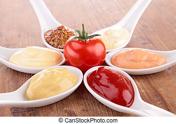 assortment of condiment