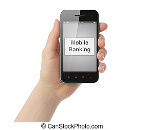 Woman hand holds smart phone with mobile banking button on its screen on white background
