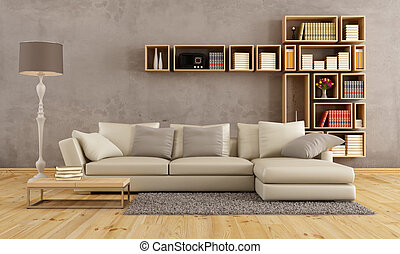 Living room with elegant sofa and wall bookcase - rendering