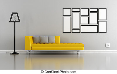 Minimalist gray and yellow lounge