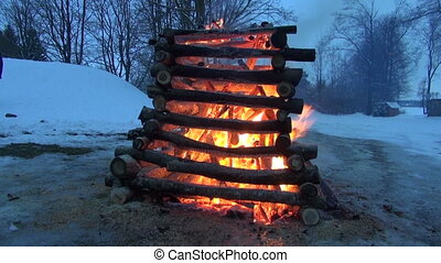 winter end celebration fire -  Shrovetide day
