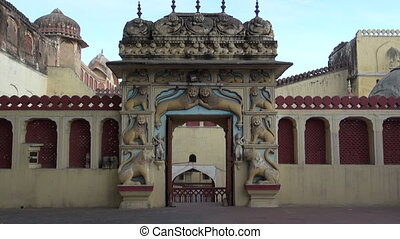 ornate gate arch with lions,Jaipur - ornate gate arch with...