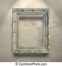 antikvitet, konkret, ram, lyxvara, vägg