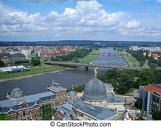 Panoramic view of Dresden and Elbe River, Germany
