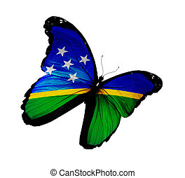 Solomon Islands flag butterfly flying, isolated on white...