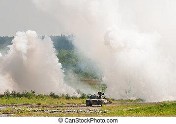 t 90 is a russian main battle tank - T-90 tank making smoke...