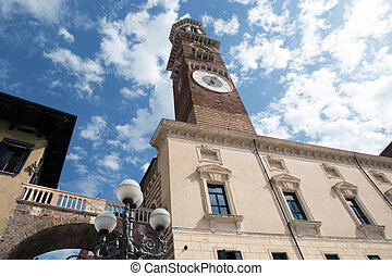 Lamberti tower in Verona - Lamberti tower on Erbe square in...
