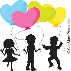 silhouettes kids and balloons - three little silhouettes...