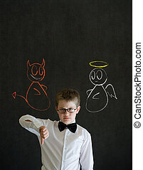 Thumbs down boy business man with chalk angel and devil on shoulder
