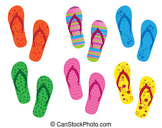 Flip flops on the white backgrounds