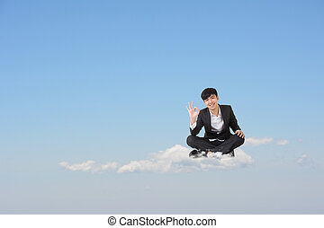 ok cloud man - Asian business man sit on cloud over sky and...