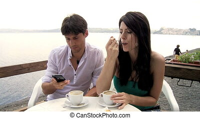 Couple in vacation on the lake - Beautiful woman jealous of...