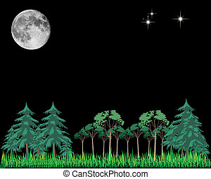 moon stars and trees