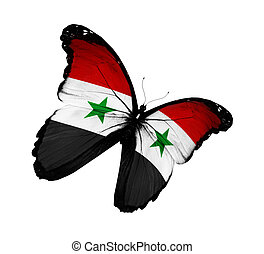 Syrian flag butterfly flying, isolated on white background