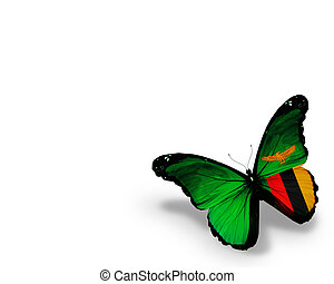 Zambia flag butterfly, isolated on white background
