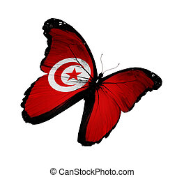 Tunisian flag butterfly flying, isolated on white background