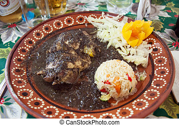 Mexican mole de huitlacoche - A typical mexican dish of...