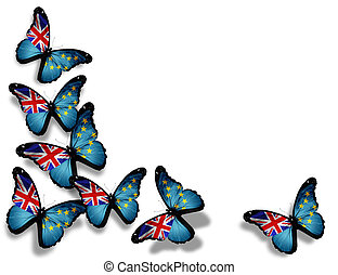 Tuvalu flag butterflies, isolated on white background