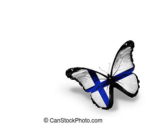 Finnish flag butterfly, isolated on white background