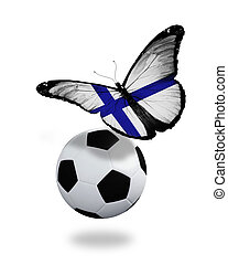 Concept - butterfly with Finnish flag flying near the ball, like football team playing