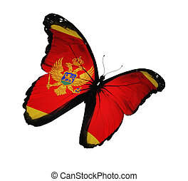 Montenegro flag butterfly flying, isolated on white background
