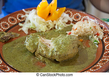 Rico pollo en mole verde - A typical mexican dish of chicken...