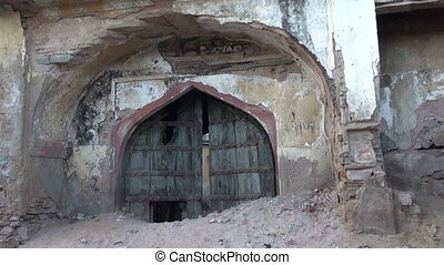 historical wooden door in Jaipur - aged historical wooden...