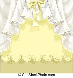 Yellow background with lace curtains and bow for your text...
